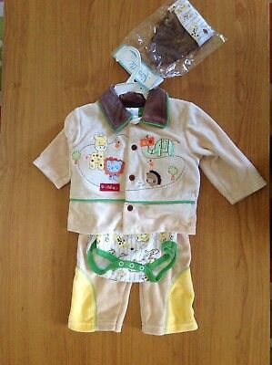 Jannette baby clothes size 6-9 months zoo animals outfit winter pants cardigan