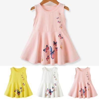 Baby Girls Toddler  Kids Butterfly Print Dress Clothes Sundress Casual Dresses