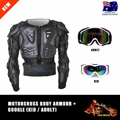Premium Adult / Kids MX Motocross Body Armour Gear protection with White Goggles