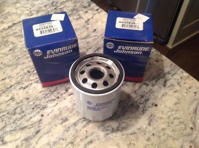 Set Of 2 OEM Evinrude Johnson Bombardier Oil AY Filter #0434839 New Free Ship