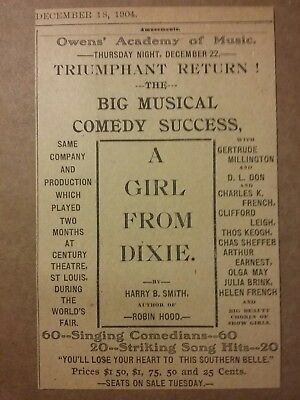 1904 A Girl From Dixie @ Academy of Music Ad Harry B Smith