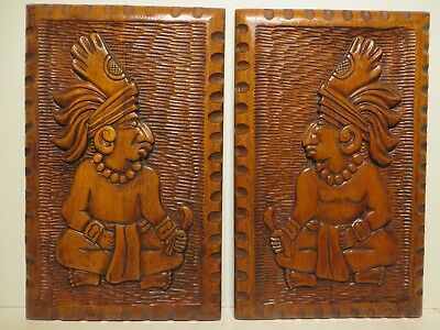 11.5x18 org. 1970 Hand Carved Wooden Native American Indians on One Inch Boards