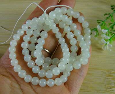 Certified White Hetian Nephrite Jade Beads Necklace 24 inches Emerald B-188-6