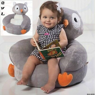 Toddler Owl Plush Chair Baby Enjoy Fun Comfy Spot to Relax Reading Watch TV-Grey