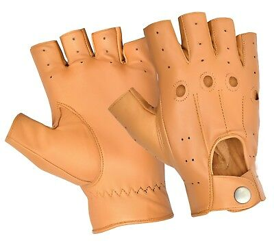 Half Finger Driving Gloves Chauffeur Men's Top Quality Real Soft Leather