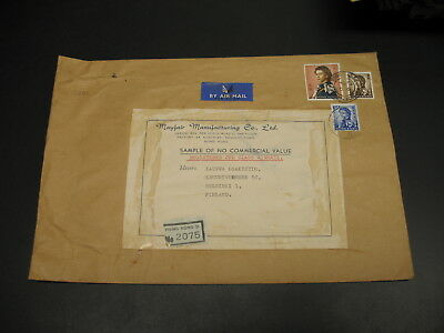 Hong Kong 1967 sample no value registered airmail cover to Finland *15681