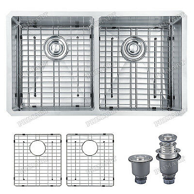 Primart 33 inch double bowl stainless steel kitchen sink WIth Free Grid Drainer
