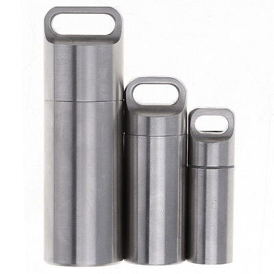 Stainless Steel Waterproof Pill Box Case Container Capsule Bottle Tank Travel