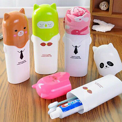 Cartoon Animal Children Kids Travel Toothbrush Toothpaste Holder Towel Case