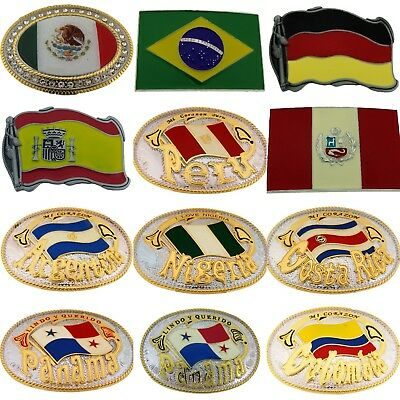 World Cup Football Soccer 2018 Country Flag Belt Buckle Mexico Brazil Peru New