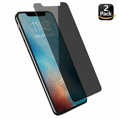 2 Pack iPhone X Privacy Tempered Glass Screen Protector Ultra Clear Bubble Free
