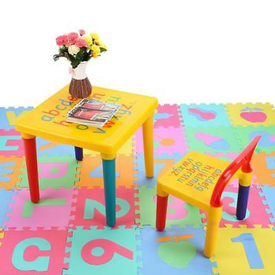 2 Pcs/Set Table & Chairs Plastic DIY Play Toddler Activity Fun to Learn and Play