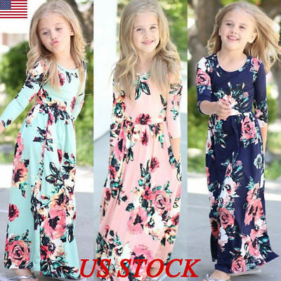 Kids Girls Long Sleeve Floral Maxi Dress Holiday Party Weddding Princess Dresses