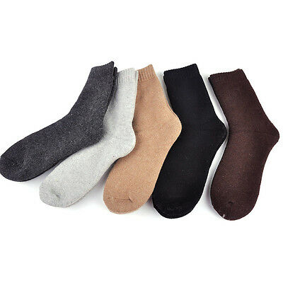 5 Pairs Men Warm Wool Cashmere Socks Thick Solid Soft Casual Comfortable Winter