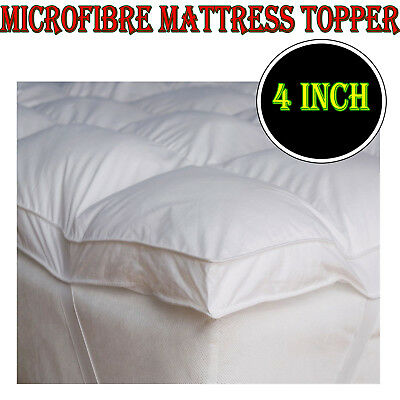 4 inch LUXURY MICROFIBER MATTRESS TOPPER DEEP SINGLE DOUBLE KING BED ALL SIZE 4""