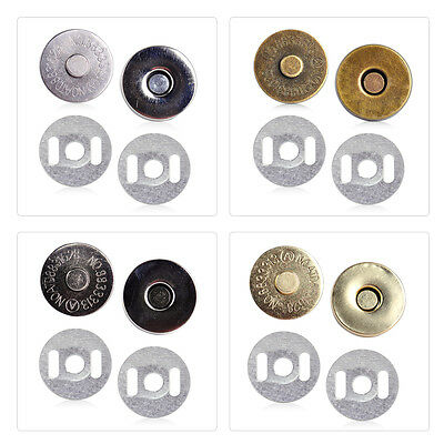 10x 18mm Magnetic Snaps Closures Button Clasp Bag Purse Craft Press Studs Round