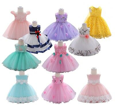 Baby Girls Flowers Dress Wedding Bridesmaid Princess Communion Prom Pageant Gown