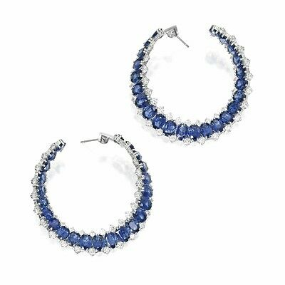 Dangle weding earrings solid sterling silver 925 Blue Oval Round Hoop Style Gift