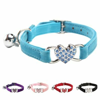Heart charm and bell cat collar safety elastic adjustable with soft velvet  K4B2