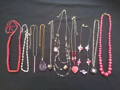 Job Lot Of Necklaces Job Lot Costume Jewellery Shades Of Pink Stones Pink Beads