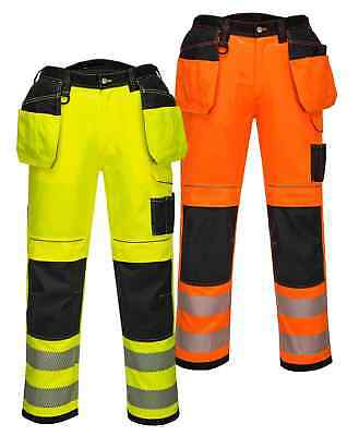 Portwest T501 PW3 Vision orange or yellow hi-vis polycotton trousers - all sizes
