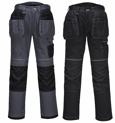 Portwest T602 black or grey urban holster cargo work trousers *Free kneepads