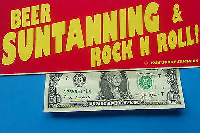 "Vintage Bumper Sticker  BEER SUNTANNING & ROCK N ROLL ! 3.5"" x 9.5"" Yellow/Red"