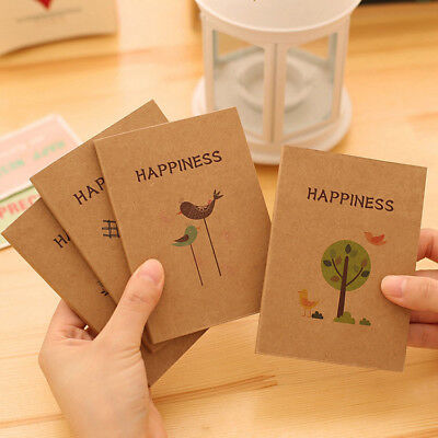 """""""Happiness"""" Pack of 4 Small Notebook Blank Freenote Pocket Memo Diary Notepad"""