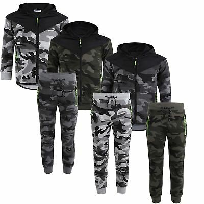 Kids Camo Trousers or Jumper Quilted Bright Details Suit Army Military 3-16Years