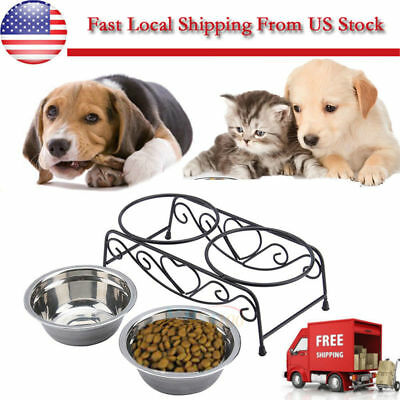Double Stainless Steel Cat Dog Puppy Pet Water Food Feeder Dish Bowl + Stand BT