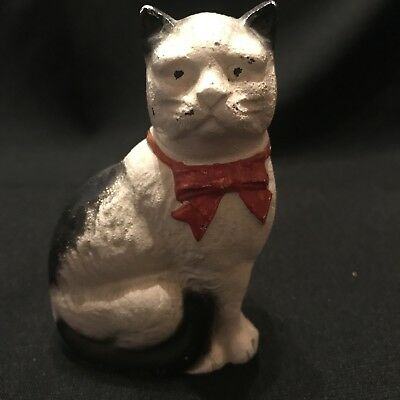 Vtg Cast Iron Still Bank Cat w Bow Seated John Wright Wrightsville PA c1940s-50s