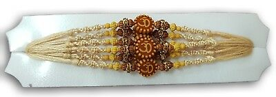 Set Of 6 x Traditional Om Design Rakhi Thread With Wooden Beads Diamante Cotton