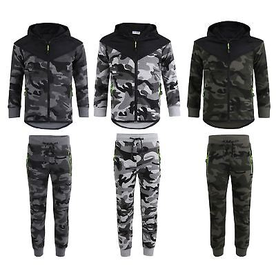 Kids Quilted 2Piece Set Camo Tracksuit Army Military Neon Details Suit 3-16Years