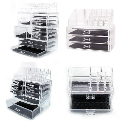 Clear Acrylic Cosmetic Jewelry Organizer Drawers Makeup Case Display Storage Box