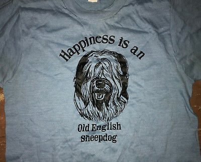 HAPPINESS is an OLD ENGLISH SHEEPDOG Vtg 70s 80s Blue dog lover T Shirt S/XS