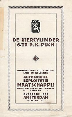 Puch 6/20 Automobile • 1920 ± • Dutch Import Brochure  • Rare Original Vintage