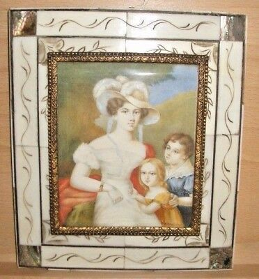 Mid to Late 19th Century Portrait Miniature of Unknown Woman and Children Signed
