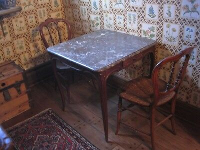 Antique French Hand Carved Walnut Marble Table & Two Walnut French Chairs