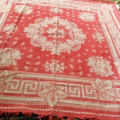 Antique home spun linen red  - great primitive linens table cloth 42 x42
