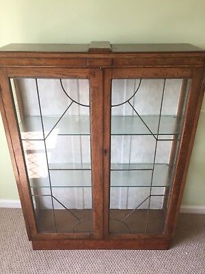 Oak Art Deco two door cabinet bookcase, Lockable glazed doors,shelves,vintage