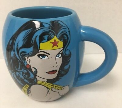 WONDER WOMAN Mug DC Comics Blue Round Ceramic Coffee Cup 18 Ounces