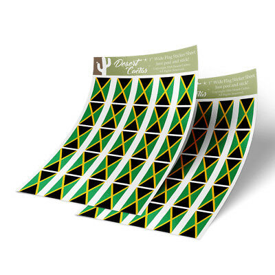 "Jamaica Flag Sticker Decal 1"" Rectangle Two Sheets 50 Total Stickers"