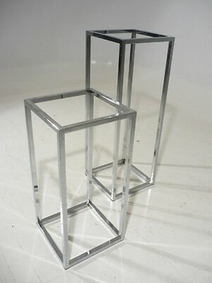 2 Baughman Chrome Space Frame Pedestal/Stand/Side Tables 70's Mid Century Modern