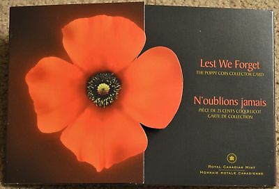 2004 Canada Lest We Forget 25-cent Poppy coin card Royal Canadian Mint EMPTY