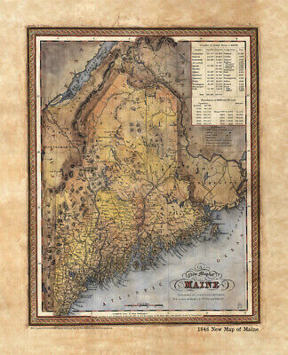 Map Maine, old map Maine, Maine Map Art, Historical Maps, Educational Art, Maine
