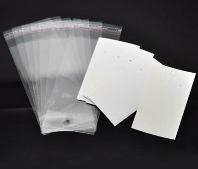 Paper Jewelry Making Display & Packaging Supplies Plastic Earrings Cards White