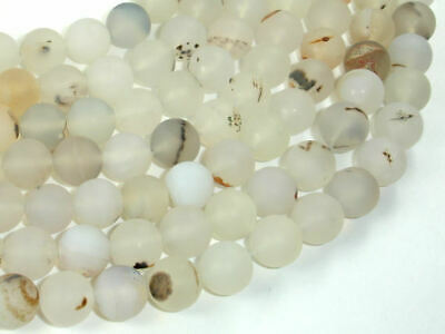 Frosted Matte Agate-White, Gray, 10mm Round Beads, 15 Inch, (122054231)