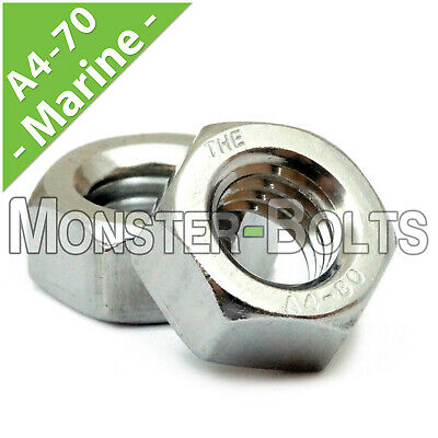 Marine Grade Stainless Steel Hex Nuts DIN 934 A4 / 316 - M2 M3 M4 M5 M6 M8 M10