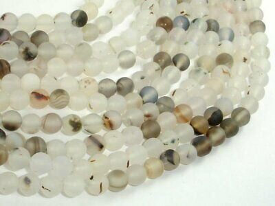 Frosted Matte Agate-White, Gray, 6mm Round Beads, 15 Inch, (122054229)
