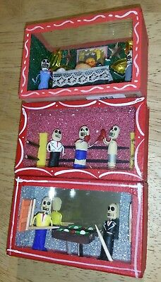 "(3) ""DAY OF THE DEAD"" Handmade Red Shadow Boxes-Glass/Wood"
